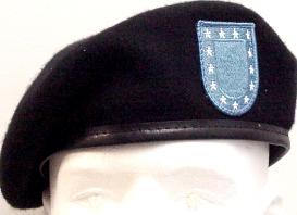 black beret with blue U.S. Army flash