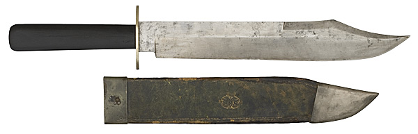 1840 Ibbotson bowie with silver fittings and ebony haft from Sheffield England